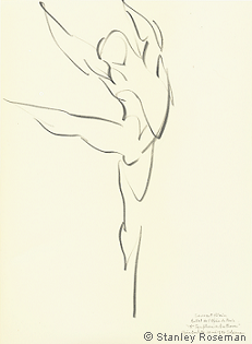 "Drawing by Stanley Roseman of Paris Opéra star dancer Laurent Hilaire, ""Ninth Symphony of Beethoven,"" 1996, Private collection, Maine. © Stanley Roseman"