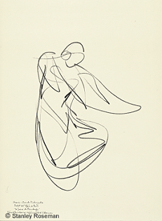 "Drawing by Stanley Roseman of Paris Opéra star dancer Marie-Claude Pietragalla, ""The Rite of Spring,"" 1994, Bibliothèque Nationale de France. © Stanley Roseman"