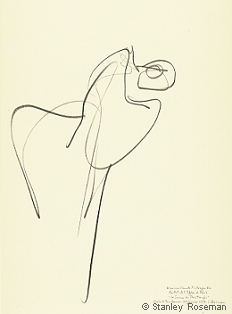 "Drawing by Stanley Roseman of Paris Opéra star dancer Marie-Claude Pietragalla, ""The Rite of Spring,"" 1994, Private collection, Canton Vaud, Switzerland. © Stanley Roseman"