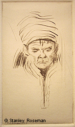 "Drypoint engraving by Stanley Roseman, ""Portrait of a Saami Man,"" 1977, Private collection, Michigan. © Stanley Roseman"