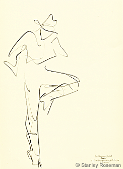 "Drawing by Stanley Roseman entitled ""Male Dancer,"" ""Rodeo,"" 1994, pencil on paper, San Francisco Ballet, Collection of the artist. © Stanley Roseman"