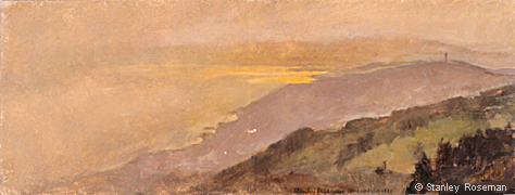"Landscape by Stanley Roseman, ""Spring Evening - View of Mont-Pèlerin and Lake Geneva,"" 1988, Musée des Beaux-Arts, Rouen. © Stanley Roseman"